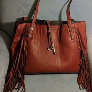 Large Red Fringe Calvin Klein Tote with Clutch